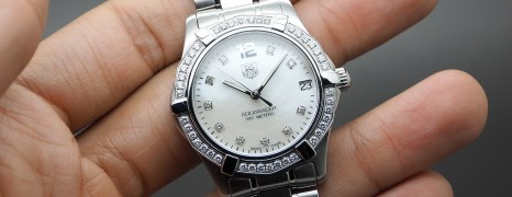 Tag Heuer Aquaracer White MOP Full Diamond Boy Size 32 mm