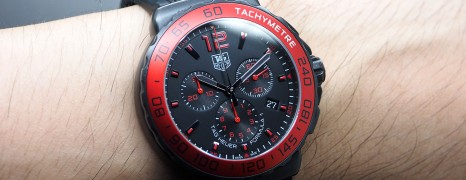 Tag Heuer F1 Quartz Chronograph Black Dial Red Bezel 42 mm