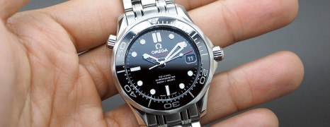 Omega Seamaster Diver 300 m Automatic Co-Axial Black Ceramic Dial Boy Size 36.25 mm