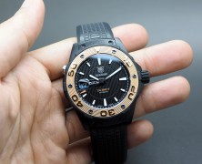 Tag Heuer Aquaracer 500 M Leonardo Titanium Automatic Calibre 5 Rose Gold Bezel 43 mm