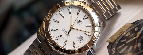 Tag Heuer Aquaracer Quartz Twotone 18K Yellow Gold White Dial 40.5 mm