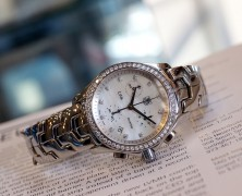Tag Heuer Link Lady Quartz Chronograph White MOP Full Diamond 33 mm