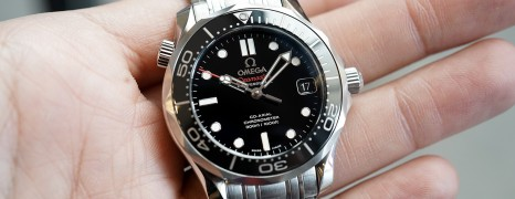 Omega Seamaster Diver 300 m Automatic Co-Axial Black Ceramic Dial Boy Size 36.25 mm NIB