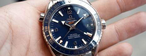 Omega Seamaster Planet Ocean 600M Co-Axial GMT Liquid Metal Blue Ceramic 43.5 mm NIB