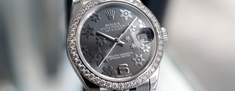 Rolex Datejust Lady Grey Floral Dial Round Diamond 31 mm Ref.178384
