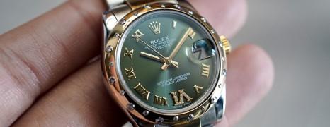 Rolex Datejust 2K Yellow Rolesor Olive Dial Diamond Bezel 31 mm REF.178343