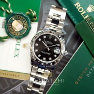 Rolex Lady Datejust Black Dial Diamond Bezel (เพชรกระจาย) 31 mm Ref. 178344 (Thai AD 12/2016)