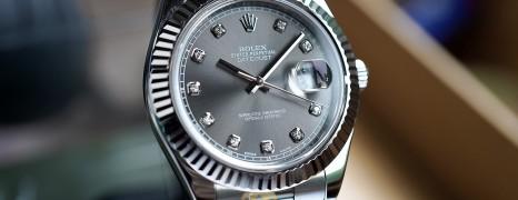 Rolex Datejust II Whitegold Bezel Grey Dial Diamond 41 mm Ref.116334 (03/2015)