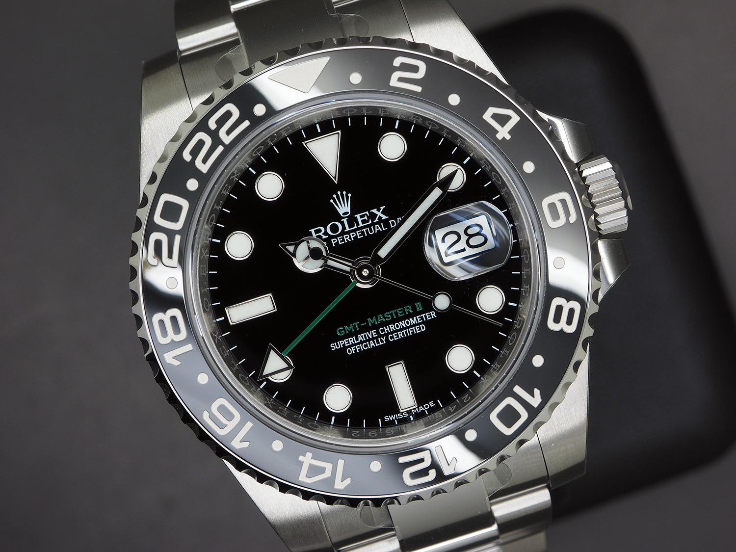 Rolex Gmt Master Ii Black Ceramic Green Hand 40 Mm Ref