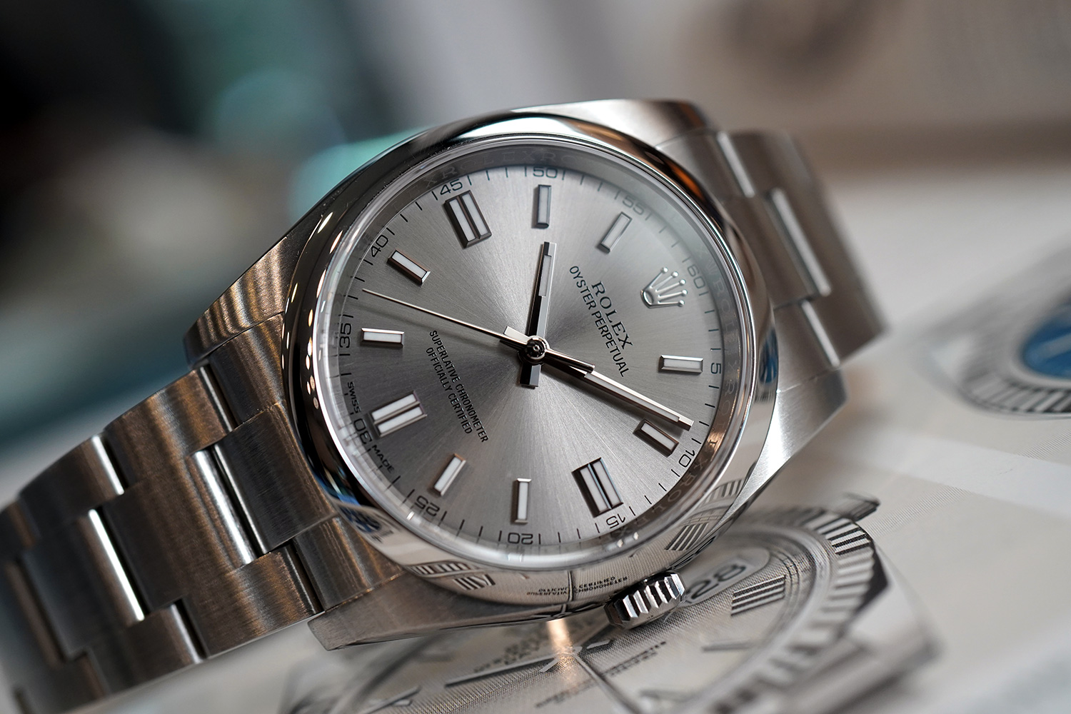 Rolex Oyster Perpetual Grey Stainless Steel Dial 36 Mm Ref