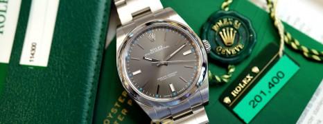 Rolex Oyster Perpetual Dark Rhodium Gray Dial 39 mm REF.114300 (Thai AD 04/2016)