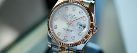 NEW!! Rolex Datejust Jubilee Everose Rolesor Silver Dial Diamond 36 mm REF.116231 (NEW Thai AD 12/2020)